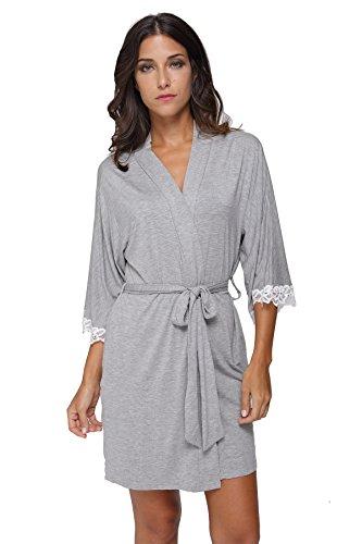 The Bund Women's Short Sleepwear Modal Cotton Knit Robe-Lace Trim, M Grey