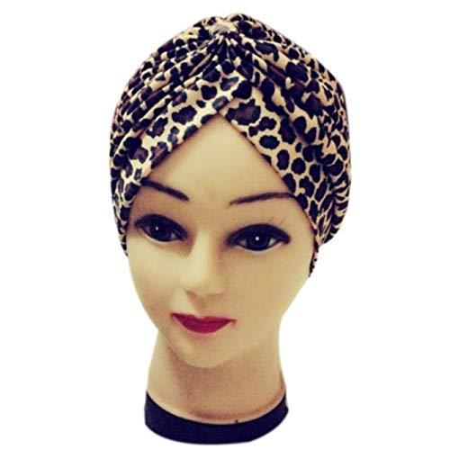 (Tuscom Women Pleated Ruffle Turban Hat Elastic Stretch Leopard Print Chemo Hair Wrap Cover Up Sun Cap Knit Bonnet Turbans Headband (Brown))