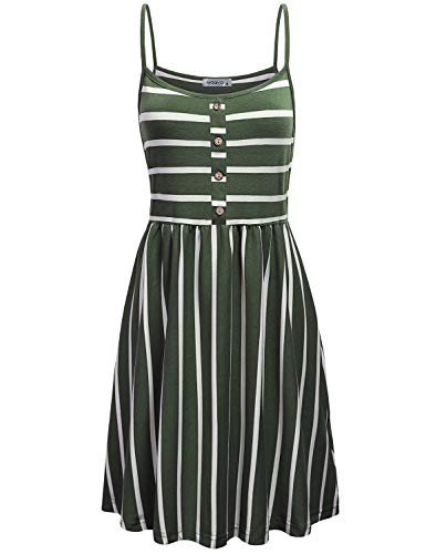 MOQIVGI Cute Dresses for Women,Classy Casual Striped Pattern Vintage Botton Decor A-line Flare Drape Camisole Dress Spring Summer Prime Wardrobe Womens Dresses Green White Large