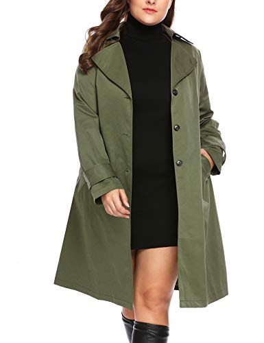 IN'VOLAND Plus Size Women's Single Breasted Long Trench Coat with Belt Olive