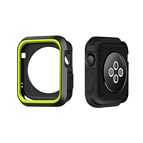 Shockproof Heavy Duty Armor Protection Case Full Edge & Corner Bumper by Tech Express for Apple Watch Series 1, 2 & 3 Cellular LTE/GPS [iWatch Cover] Protective Accessories (Green, 38mm)