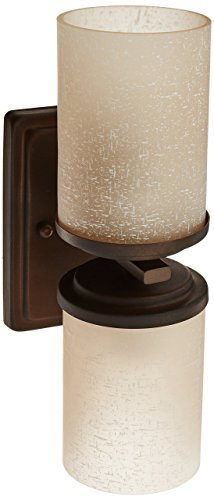 Forte Lighting 2424-02-32 Wall Sconce with Umber Linen Glass Shades, Antique - Vanity 3 Light Umber