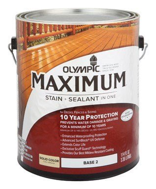 Olympic Maximum Deck , Fence And Siding Stain Latex Base 2 Solid 1 Gl (Olympic Maximum Deck Fence And Siding Stain)