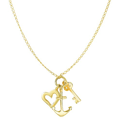 14k Yellow Gold Key Anchor And Heart Charms Necklace, 18