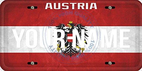 (Personalized Custom Name License Austria Flag Car Vehicle License Plate Auto Tag)