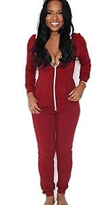 C.X Trendy Women's Onesie Casual Bodycon Zip Up Hooded Jumpsuits Romper