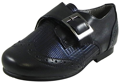 Marty Shoes (Venettini Boy's Marty Grey Detailed Leather Large Buckle Oxford Shoe 24 M EU/8 M US Little Kid)
