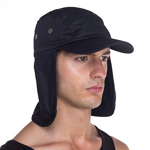 Top Level Fishing Sun Cap UV Protection - Ear and Neck Flap Hat, BLK