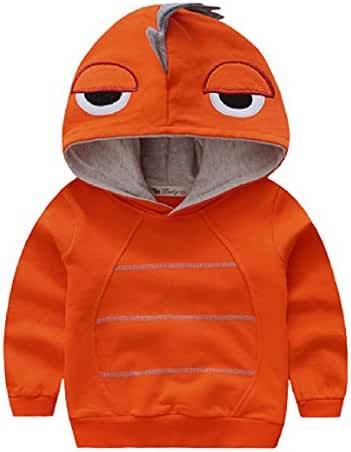 Boys Autumn Long Sleeve Strip Dinosaur Hoodie Toddler Outwear Clothes