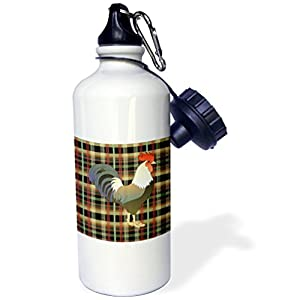 3dRose Florene Country Living - Image of Olive Greenish Rooster On Black Green Tan Plaid - 21 oz Sports Water Bottle (wb_237476_1)