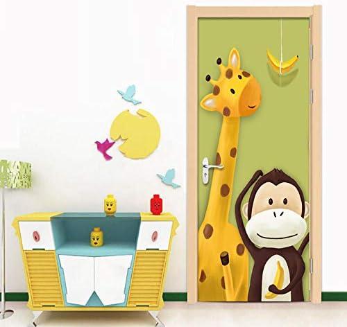 Hxcok 写真の壁紙3D漫画キリン猿動物壁画子供寝室クリエイティブDIYドア壁画ステッカーPVC環境に優しい壁紙-77X200CM