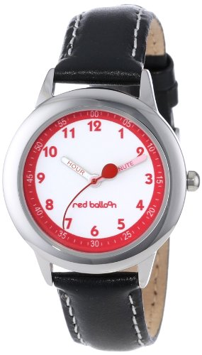 Red Balloon Kids' W000197 Black Leather Strap Stainless Steel Time Teacher Watch
