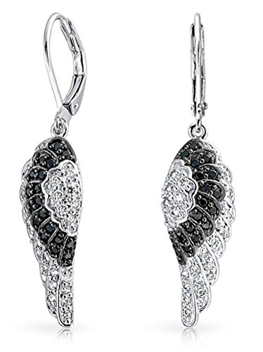 (Guardian Angel Wing Feather Cubic Zirconia Black White CZ Leverback Earrings For Women Silver Plated Brass)