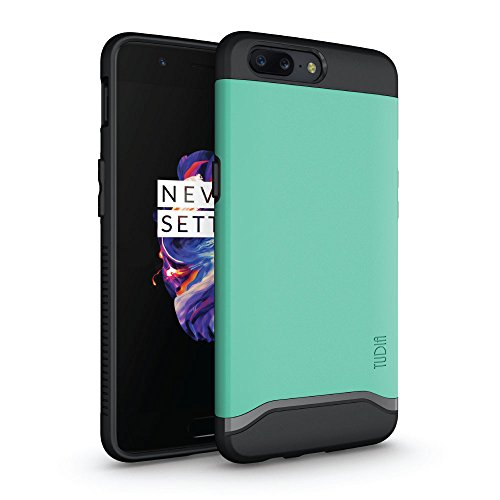TUDIA OnePlus 5 Case, Slim-Fit HEAVY DUTY [MERGE] EXTREME Protection / Rugged but Slim Dual Layer Case for OnePlus 5 (Mint)