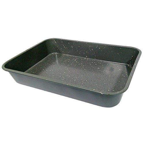 casaWare Grande Lasagna/Roaster Pan 18 x 12 x 3-Inch - Extra Large, Ceramic Coated NonStick (Silver Granite) by casaWare (Image #1)
