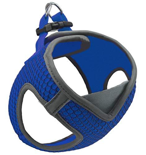 KRUZ PET Reflective V-Neck Step In Mesh Dog Harness No Pull Easy Walk Comfortable Small & Medium Dogs Blue