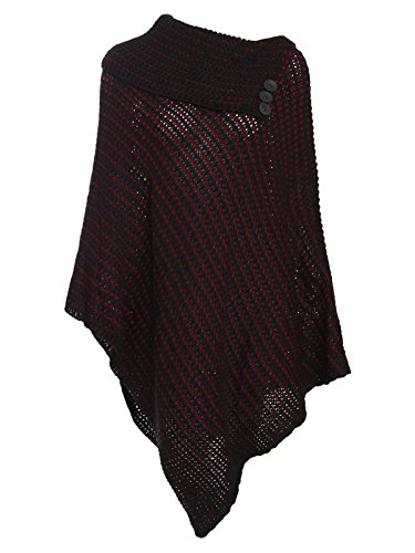 Envy Boutique - Poncho - Sin mangas - para mujer Black-Wine