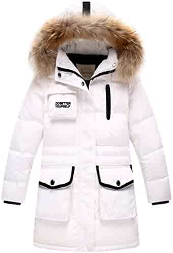 3e2d50af3 Goodkids Children Girls Padded Overcoat Down Jacket Puffer Outwear  Thickened Long Warm Winter Parka with Fur ...