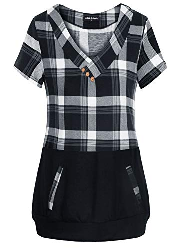 - Miagooo Loose Fitting Tops for Women, Ladies Cross V-Neck Gingham Top Lightweight Baggy Contrast Plaid Knitting Tunic Shirt Short Sleeve Blouse Casual Wear with Pocket Multi-Black L