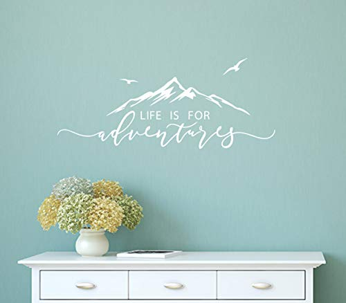 Life is for Adventures Wall Decal, Quote Decal, Mountain Design Wall Decals, Nursery Wall Sticker, Travel Decor, Adventure Decor, Home Decal Wall Stickers(Y15) (57X23cm, White)