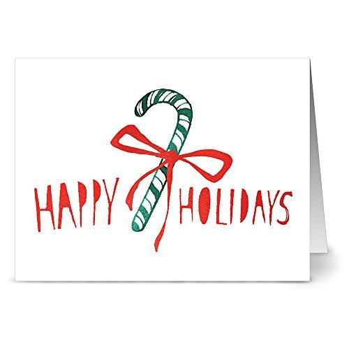 24 Holiday Cards for $9.99 - Candy Cane - Blank Cards - Green Envelopes Included by Note Card Cafe (Cane Blank)