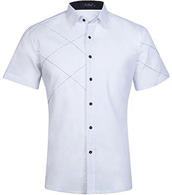 HOP Men's Casual Short Sleeve Slim Fit Button up Dress Shirt