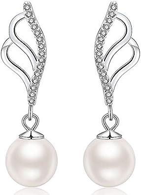 Pearl Cultured Hoop Earrings 925 Silver Plated Stud Drop Dangle Earrings Gift UK