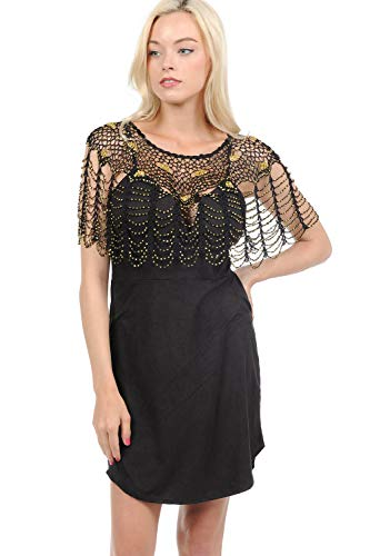 Sexy Tunic Metallic Beaded Web Styles Shawl Crochet Poncho Short Cape Flapper Top (One, Black-Gold) ()