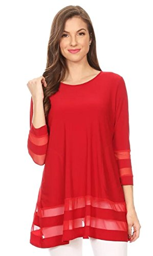 Love My Seamless Womens Ladies 3/4 Sleeve Solid Knit & Mesh Contrast Top