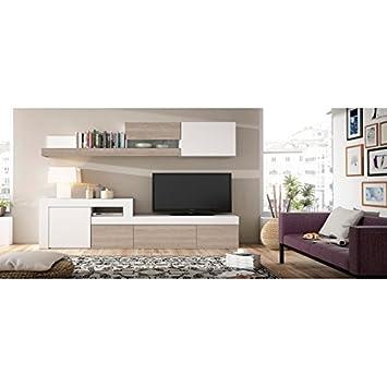 Mueble de salón TV Completo, Color Madera y Blanco, Apilable ...