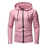 Men Cardigan Jacket Autumn Casual Zipper Coat Long Sleeve Slim Fit Pullovers Outwear Lightweight Hoodies Blouse (XL, Pink)
