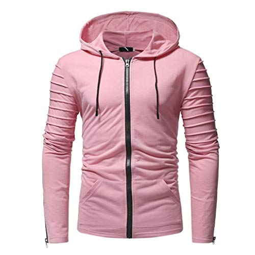 Men Cardigan Jacket Autumn Casual Zipper Coat Long Sleeve Slim Fit Pullovers Outwear Lightweight Hoodies Blouse (XL, Pink) by Goodtrade8 Clearance