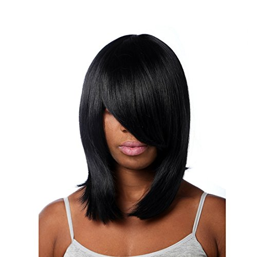 16.5in 42CM Perruques Mode Femmes Sexy Party Straight Black Pleine perruque oblique Bangs