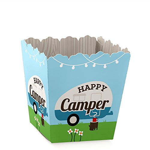 - Happy Camper - Party Mini Favor Boxes - Camping Baby Shower or Birthday Party Treat Candy Boxes - Set of 12