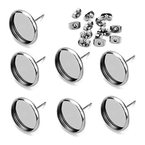 40pcs 14mm Stainless Steel Blank Stud Earring Bezel Setting for Jewelry Making with 40pcs Surgical Steel Earring Backs DIY Findings (9852)
