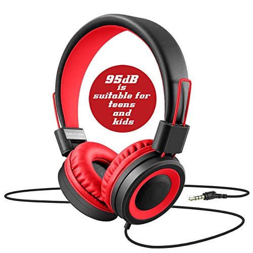 Dongli Cat Kids Headphones for Boys Girls Teens Children Volume Limited Adjustable Foldable Tangle-Free Cord 3.5mm Jack Wired Over-Ear Headset for iPad iPhone Computer MP3/4 Kindle Tablet (Red)