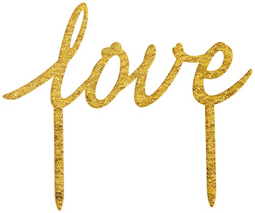 Ginger Ray Pastel Perfection Love Sparkling Cake Topper Wedding, Gold
