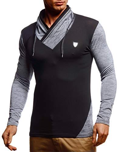 Leif Nelson Herren Sweatshirt Longsleeve Männer Slim Fit Baumwolle-Anteil Basic Sommer Pulli weißes Langarmshirt Schwarzer Sweater Pullover T-Shirt Langarm LN55125