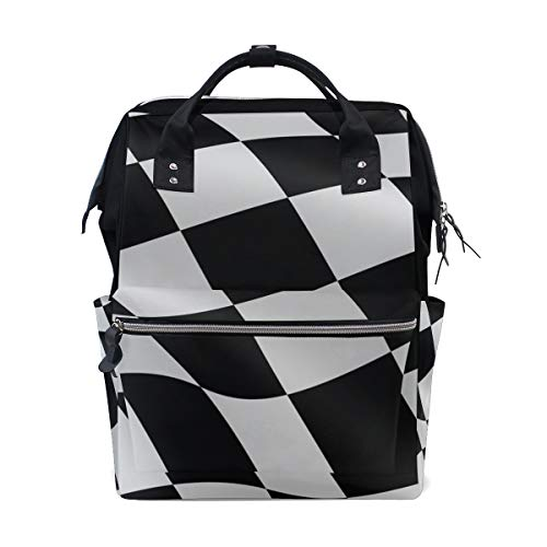 Women Casual Backpack Black White Checkered Flag School Bag Wide Open Work Doctor Style Daypack Canvas for Ladies Girls Rucksack -