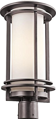 Kichler Lighting 49349AZ Pacific Edge 1-Light Post Mount, Architectural Bronze Finish with Satin Etched Cased Opal Glass (Post Mission Mount Light)