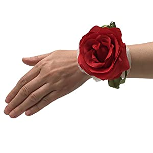Abbie Home Blooming Rose Boutonniere Brooch Pin for Prom Party Wedding- Pack of 2/4/6 (2, RED) 112