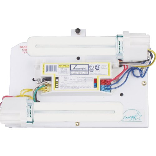 Progress Lighting P7200-30STRWB Surface Mount Backplate Mounts Directly onto Junction Box with Standard 120 Volt Normal Power Factor Electronic Ballasts, White ()