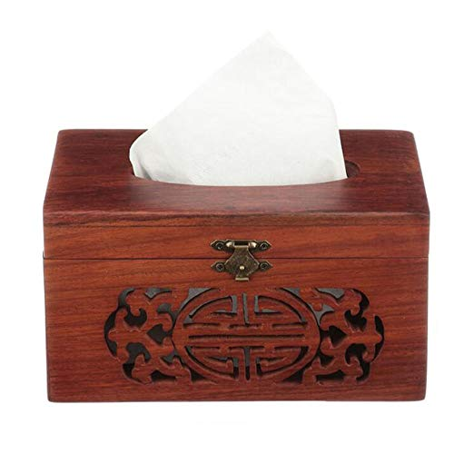 ZH Home Decoration Solid Wood Uncovering Tissue Box Holder Hand-Carved Hollow Living Room Coffee Table Desktop Paper Towel Organizer, 150 Pumping, 16x12x9cm ()