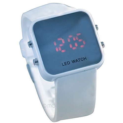 Amazon.com : Digital LED Mirror Silicon Sport Wrist Watch Relojes de pulsera Casual Watches WHITE : Everything Else