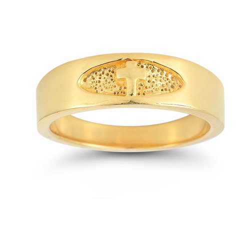 Men's Christian Cross Ring in 14K Yellow Gold - Size 14 by Apples of Gold