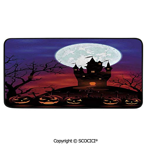 Print Door Mat, Indoor Floor Area Carpet Compatible Bedroom,Living Room,Children, Playroom, Bathroom,Halloween Decorations,Gothic Haunted House Castle Hill Valley Night,39