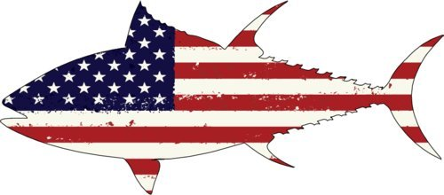 (WickedGoodz 2 pcs American Flag Tuna Vinyl Decal - Cell Phone Sticker - Perfect Ocean Fishing Beach Gift)