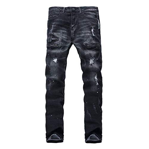 Jeans Denim Casual Uomo Da Hole Destroyed Nero Ragazzi Look Pantaloni Classiche Biker Strappati pYw1dwq