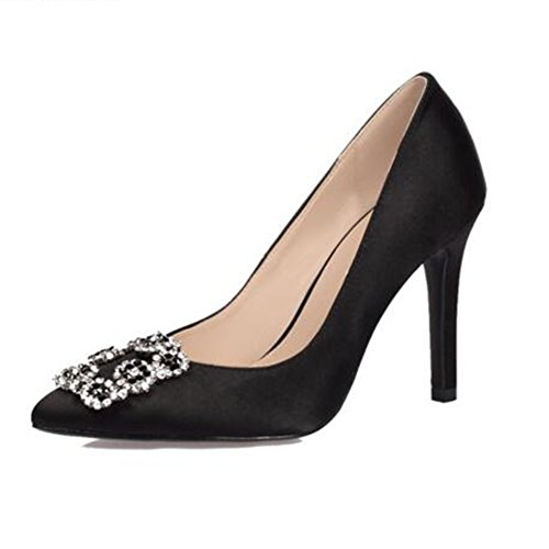 YIXINY Zapatos de tacón Tacones De Mujer Novia Zapatos De Boda Seda Fiesta De Bodas Noche Stiletto Brillante Rhinestone (Color : 4, Tamaño : EU38/UK5.5/CN38) 4