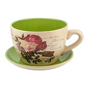 Ceramic Large Teacup Saucer Planters Vintage Rose Amazon Co Uk